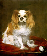 A KING CHARLES SPANIEL SMALL TOY DOG PORTRAIT PAINTING BY EDOUARD MANET REPRO