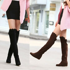 New Women Faux Suede Lace Winter Wedge Heel Over The Knee Thigh High Boots Shoes
