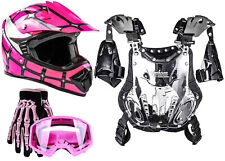 Youth Motocross Dirtbike ATV Gear - Helmet Gloves Goggles Chest Protector Pink