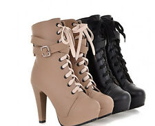 Military Platform Lady Combat Cross Strap High Heel Lace Up Shoes Ankle Bootie