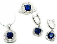 Sterling Silver Blue Sapphire CZ Jewelry Set Halo White Micro Pave Setting 6 8