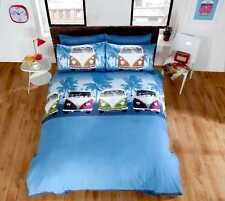 Camper Van Duvet Quilt Cover & Pillowcase Bed Set Bedding Single Double King VW