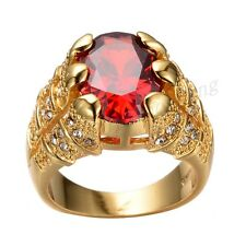 Sz8-12 Womens/Mens 10kt Gold Filled Engagement Rings Ruby Garnet CZ Wedding Ring