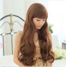 Hot Womens Fashion Long Wavy Curly Full Wig Ladies Cosplay Wig Brown/Black Wigs