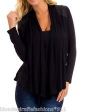 Black w/ Faux Leather Shoulders & Back Yoke Scarf Drape Cover-Up Cardigan S M L