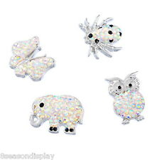 1PC Snap Button Fit Snap Bracelet AB cloor Rhinestone Animal Polymer Clay