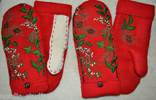 HANDMADE EMBROIDERED BOILED WOOL recycled sweater MITTENS, Fleece Lined, Red, L