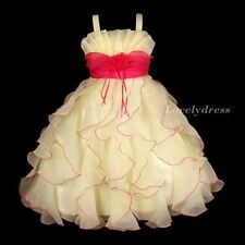 NEW Flower Girl Wedding Pageant Party Dress Wears Sets Beige/Fuchsia SZ 4-9 Q495