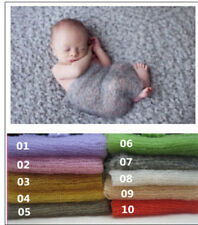 * Mohair & Wool stretch knit wrap newborn photo prop baby blanket Hand Knit