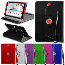 """360° Rotating Luxury PU Leather Spring Stand Case Cover & Pen for 7"""" Tablets"""