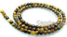 """SALE small 4mm High quality Round natural Tiger's-eye Beads 15"""" string-los612"""