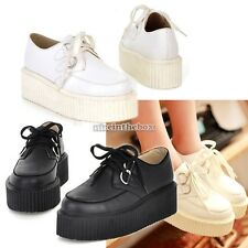 Flat Shoes Punk Goth High Platform Creepers Lace UP Women Sneakers Casual N98B