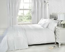 Luxury White Bedding Bed Sets OR Curtains / Matching Accessories EMBROIDERED