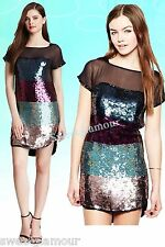 $528 French Connection Rocka Colorblock Sequin Illusion Cocktail Dress 2 US
