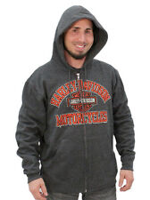 Harley-Davidson Mens Distressed H-DMC Orange B&S Charcoal Hoodie Jacket