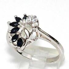 Sterling Silver Natural Blue Sapphire Clear Stone Flower Waterfall Ring