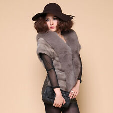 Women's Real Mink Fur Wrap Shawl with Fox Trimming Fur Cape