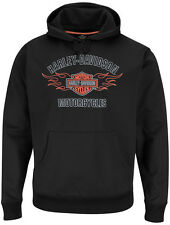 Harley-Davidson Mens Black Stay-Dry Pullover Polyester Performance Hoodie, Flame