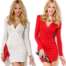 CHEAP❤ Women Bandage Bodycon Long Sleeve Evening Sexy Party Cocktail Mini Dress