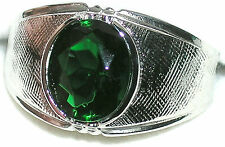 Men's Emerald Solitaire Stainless Steel Ring ** May Birthstone ** R1