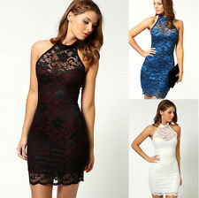 Cocktail Party Lady Bodycon Halterneck Sleeveless Slim Sexy Lace Evening Dress