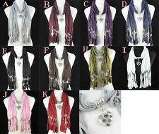 1 pc heart charms fashion jewelry scarf 10 colors pendant scarf necklace NL-1220