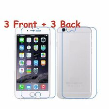 6pcs=3x(Front+Back) Clear Screen Protector Film For iPhone 4/4s 5/5s 6/6s Plus