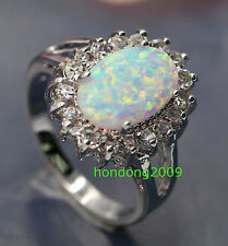 Natural white AUSTRALIAN FIRE OPAL  925 sliver RING SIZE 5.5/6.5/7.5/8.5