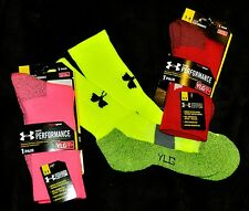 Under Armour performance neon ORANGE Crew socks Youth boys girls L LARGE