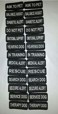 """TWO Small Black Sew-On Embroidered Patches - SERVICE DOG  ASSORTED - 1 1/4 x 3"""""""