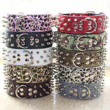 NEW Spiked Studded Leather Dog Collar Large Dog PitBull Terrier Collar S M L XL