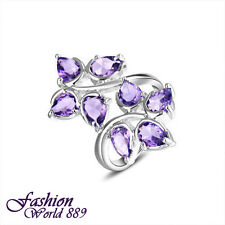 Pretty Leafy Design Nice Gift Amethyst Gemstone  Silver Plated Rings