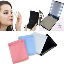 Makeup Cosmetic Folding Portable Compact Pocket Mirror w/ 8 LED Lights Lady Lamp