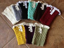 USA Seller!!! Boot Cuffs Ruffle Lace Trim Buttons New! 6 Colors Socks Topper