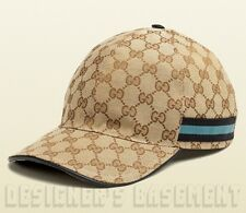 GUCCI beige GG canvas Black & TEAL blue WEB RIBBON Baseball Hat cap NWT Authentc