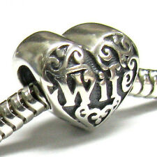 .925 Sterling Silver Heart Love Wife Engrave Family For European Charm Bracelet