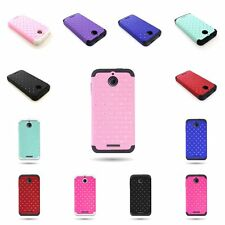 Hybrid Case For HTC Desire 510 Hard Diamond Studded Rubber + Soft Silicone Cover