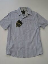 TRANSPORTER BLUE STRIPE BLUE DA VINCI CHARLIE SHEEN SHORT SLEEVE SHIRT Button M