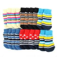 Colorful Stripes Pet Dog Soft Cotton Socks Anti-Slip Bottom Knit Warm Sock Boots