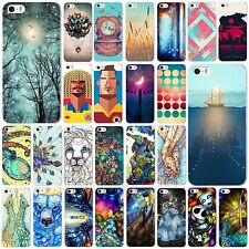 Colored Drawing Pattern Hard Case Cover Protector for Apple iPhone 4 4S 5 5S 5C