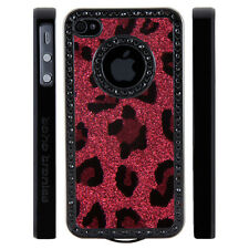 Apple iPhone 5 5S Gem Crystal Rhinestone Light Red Leopard Glitter Plastic case