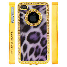 Gem Crystal Rhinestone Purple Shimmer Leopard Plastic Case For Apple iPhone 5 5S
