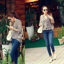 Women Korean Fashion Sexy Leopard Tin Chiffon Long Sleeve Shirt Top Blouse S3