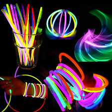 "50/100 8"" Glow Light Sticks Bracelets Glowing Necklace Neon Colors Party Favors"