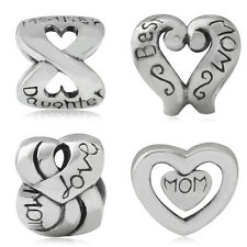 925 Sterling Silver HEART LOVE MOM European Charm Bead