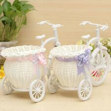 Large Rattan Tricycle Bike Flower Basket Vase Storage Home Wedding Party Decor