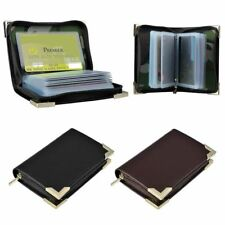 Genuine Leather Wallet Zipper Case Credit Card Holder ID Window Organizer