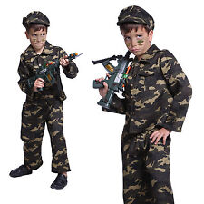 Boys Kids Army Soldier Camouflage Uniform Military Outfit Fancy Dress Costume