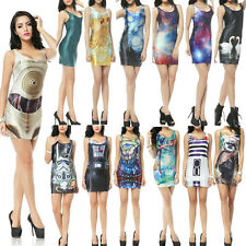 New Design Sexy Lady Digital Galaxy Punk Printing Dress Tight Package Vest Skirt