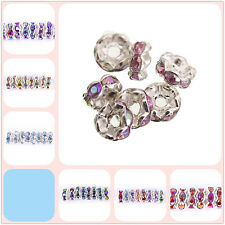 100pcs Round Crystal Rhinestone Jewelry Findings Spacer Beads AB Color, 6mm